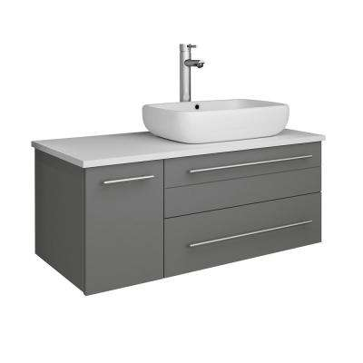 Lucera 36 in. W Wall Hung Bath Vanity in Gray with Quartz Stone Vanity Top in White with White Basin