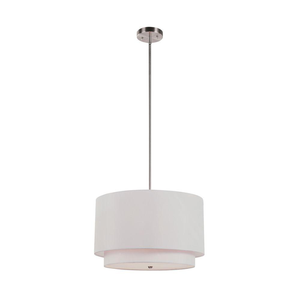 Bel Air Lighting Cabernet Collection 3 Light Brushed Nickel Pendant With Ivory Shade