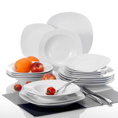 Elisa White Porcelain 18-Piece Casual Ivory WHite Porcelain Dinnerware Set (Service for 6)