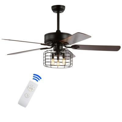Asher 52 in. Forged Black 3-Light Industrial Metal/Wood LED Ceiling Fan with Light and Remote
