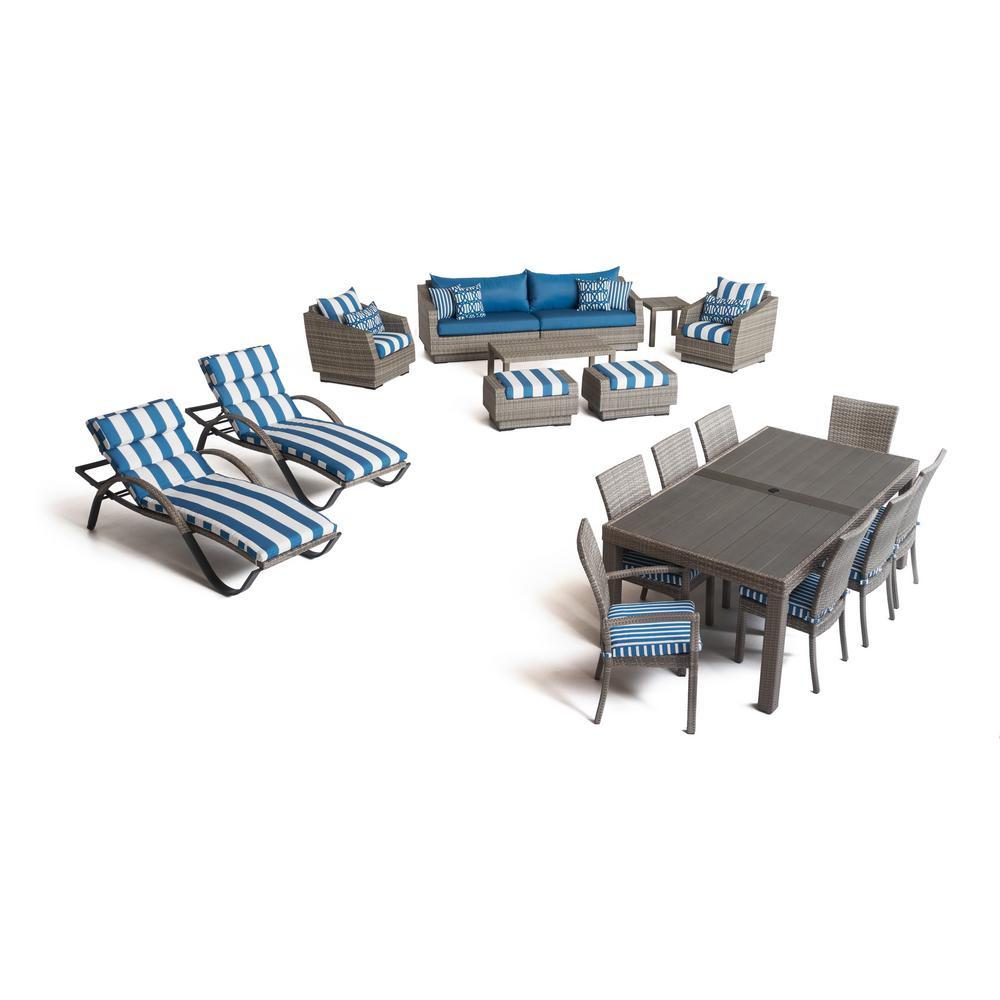 Cannes 19 piece wicker patio estate conversation set with sunbrella regatta blue cushions