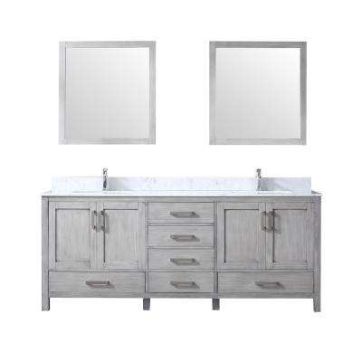 80 in. Double Bath Vanity in Distressed Grey w/ White Carrera Marble Top w/ White Square Sinks and 30 in. Mirrors