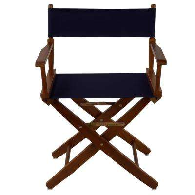 Extra-Wide 18 in. Mission Oak Frame/Navy Canvas American Hardwood Directors Chair