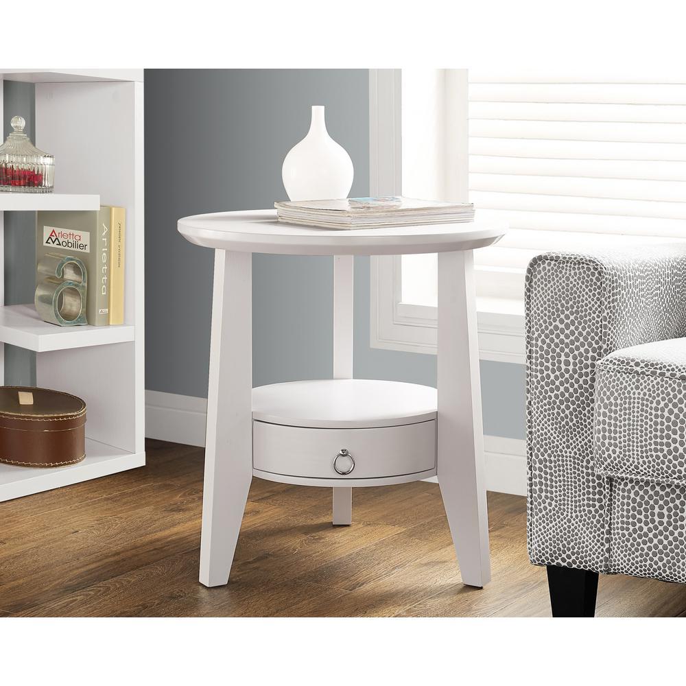 White Storage End Table