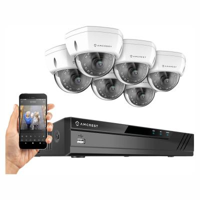 Plug & Play H.265 8-Channel 4K NVR 8MP Surveillance System with 6 Wired POE Dome Cameras and 4TB Hardrive, White