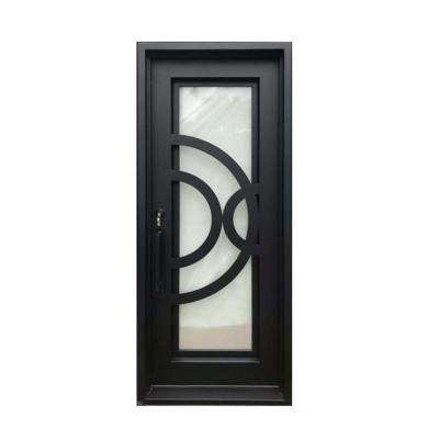 40 in. x 96 in. Matte Black Right-Hand Inswing 1-Lite Rain Glass Iron Prehung Front Door