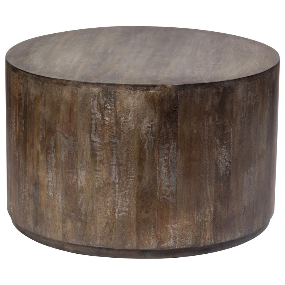 Gray Wash Mango Wood Round Drum Coffee Table
