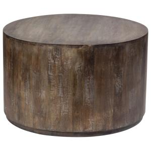 Gray Wash Mango Wood Round Drum Coffee Table by