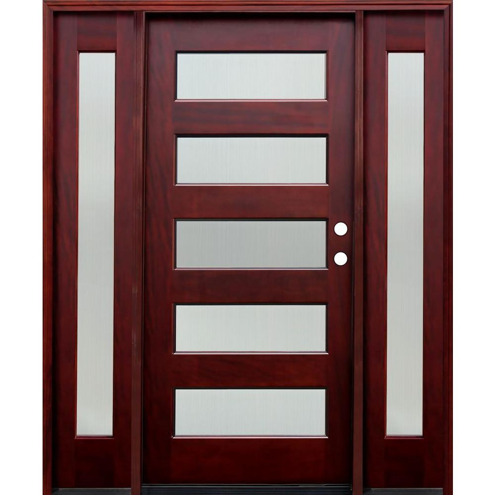 66 in. x 80 in. Contemporary 5 Lite Reed Stained Mahogany