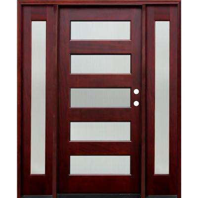 70 in. x 80 in. Contemporary 5 Lite Reed Stained Mahogany Wood Prehung Front Door w/ 6 in. Wall Series,14 in. Sidelites