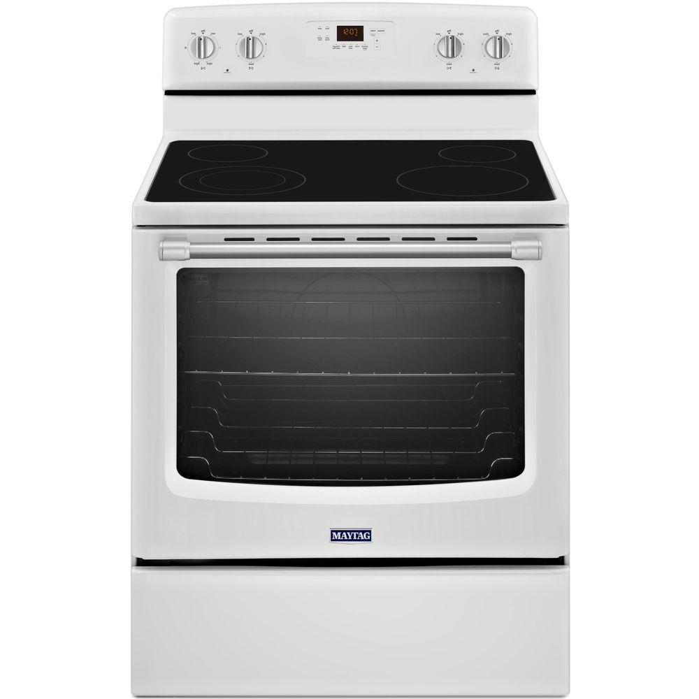 Maytag AquaLift 6.2 cu. ft. Electric Range with Self-Cleaning Oven in White with Stainless Steel Handle