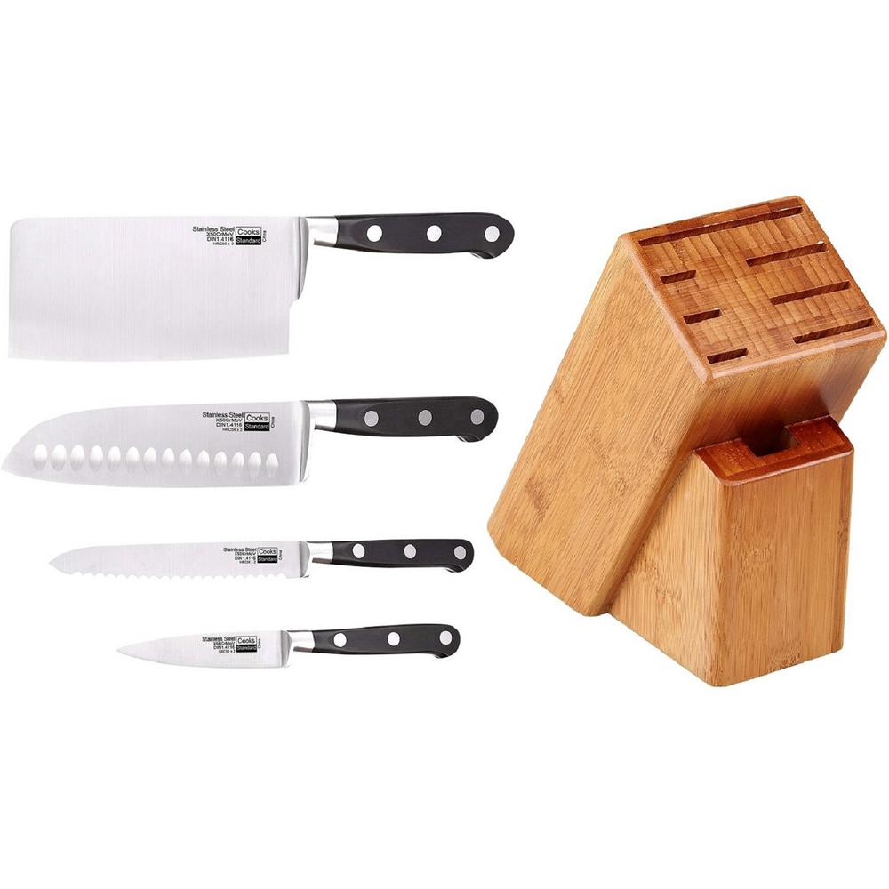 5-Piece Stainless Steel Asian Gourmet Chef Knife Set with Expandable Bamboo