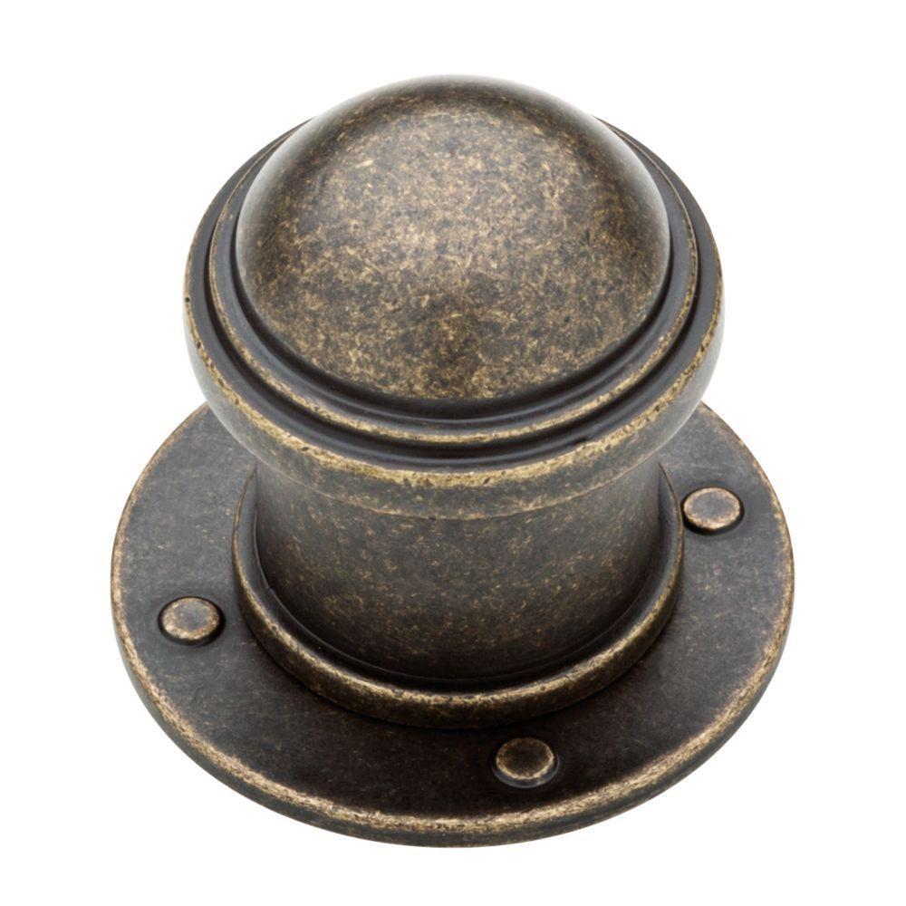 Industrial 1-1/2 in. (38mm) Burnished Antique Brass Round Cabinet Knob