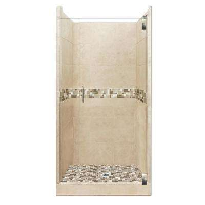Tuscany Grand Hinged 36 in. x 36 in. x 80 in. Center Drain Alcove Shower Kit in Brown Sugar and Satin Nickel Hardware
