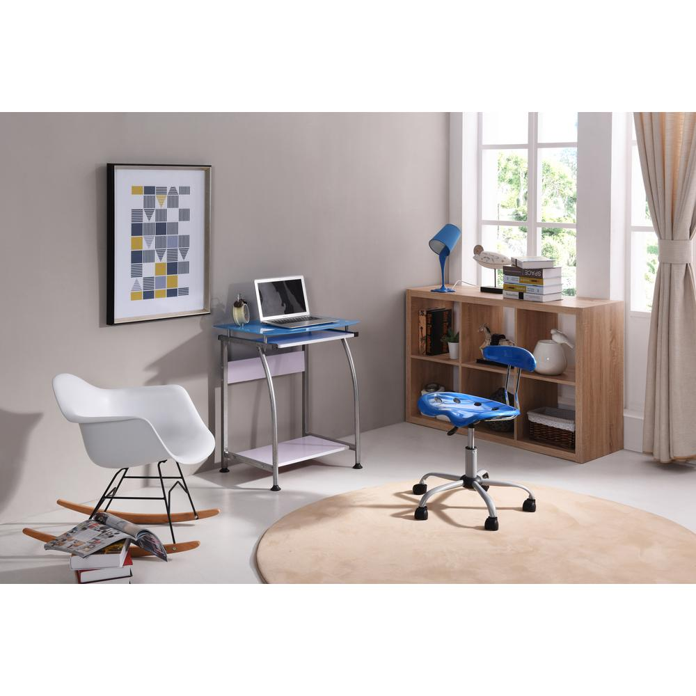 Hodedah Blue Gl Laptop Desk With Pull Out Keyboard Tray