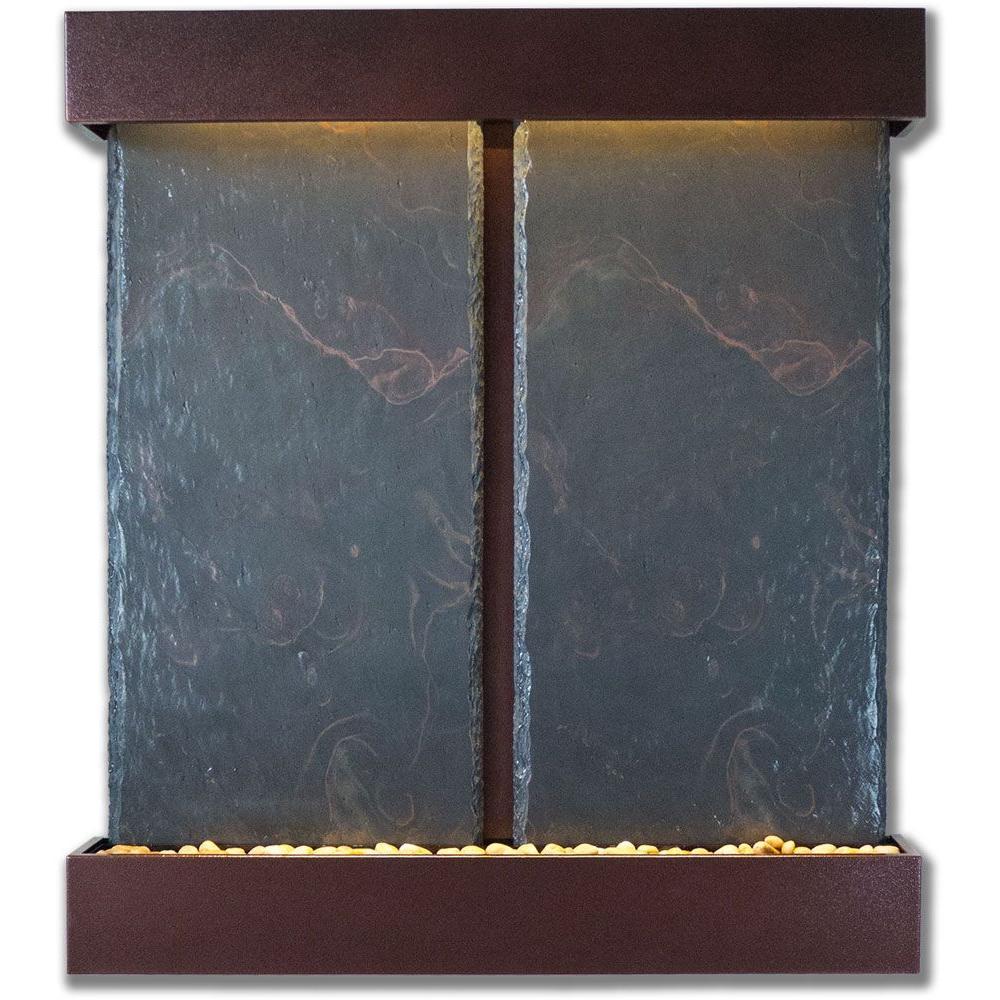Double Nojoqui Falls Lightweight Slate Wall Fountain in Copper Vein Trim