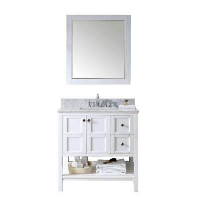 Winterfell 36 in. W Bath Vanity in White with Marble Vanity Top in White with Square Basin and Mirror