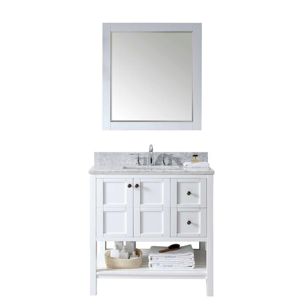 Virtu Usa Winterfell 36 In W Bath Vanity White With Marble Top