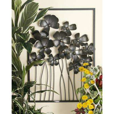 48 in. x 32 in. Iron Black and Brass Wildflower Composite Wall Decor (Set of 3)