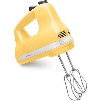 Ultra Power 5-Speed Majestic Yellow Hand Mixer with 2 Stainless Steel Beaters