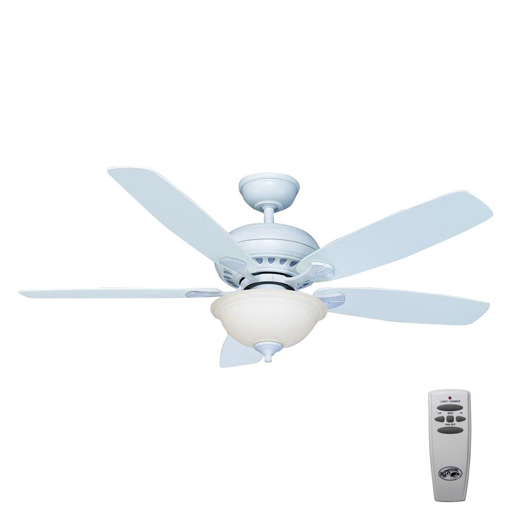 Hampton Bay Southwind 52 in. Indoor Matte White Ceiling Fan with Light Kit and Remote Control
