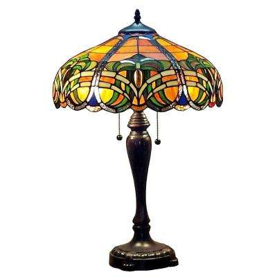 25 in. Tiffany Style 2-Light Baroque Table Lamp