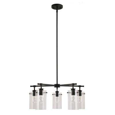 5-Light Black Chandelier with Clear Glass Shades