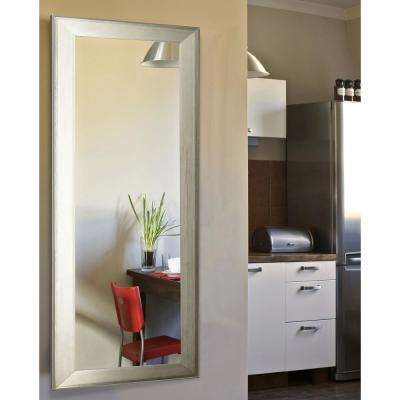 31.5 in. x 66.5 in. Vanity Brushed Silver Non Beveled Floor Mirror