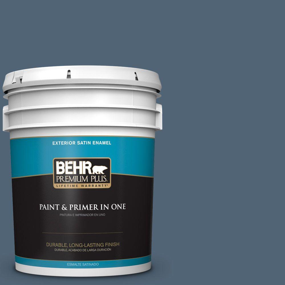 BEHR Premium Plus 5-gal. #570F-6 Mood Indigo Satin Enamel Exterior Paint