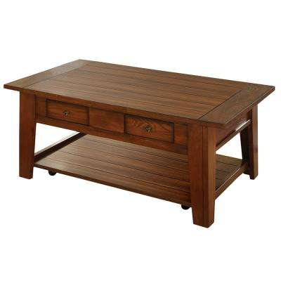 Desoto Red Oak Cocktail Table With Casters