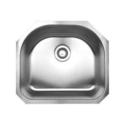 Noah's Collection Undermount Brushed Stainless Steel 23 1/4 in. 0-Hole Single Bowl Kitchen Sink