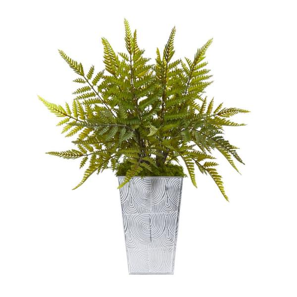 Nearly Natural 15 in. Fern Artificial Plant in Planter 8894