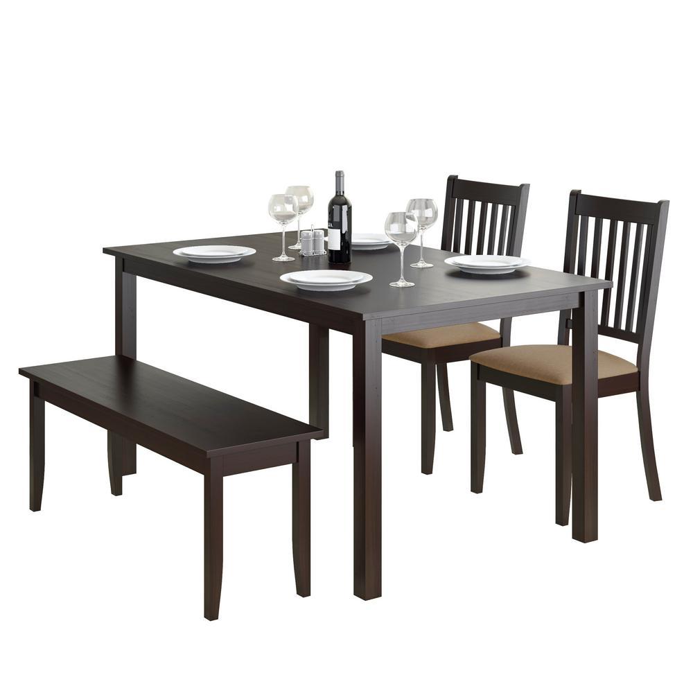 Stupendous Corliving Atwood 4 Piece Dining Set With Cappuccino Stained Inzonedesignstudio Interior Chair Design Inzonedesignstudiocom