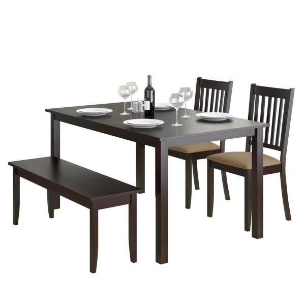 Awesome Corliving Atwood 4 Piece Dining Set With Cappuccino Stained Onthecornerstone Fun Painted Chair Ideas Images Onthecornerstoneorg