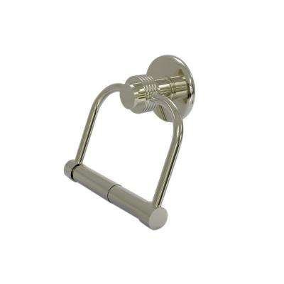 Mercury Collection Single Post Toilet Paper Holder with Groovy Accents in Polished Nickel