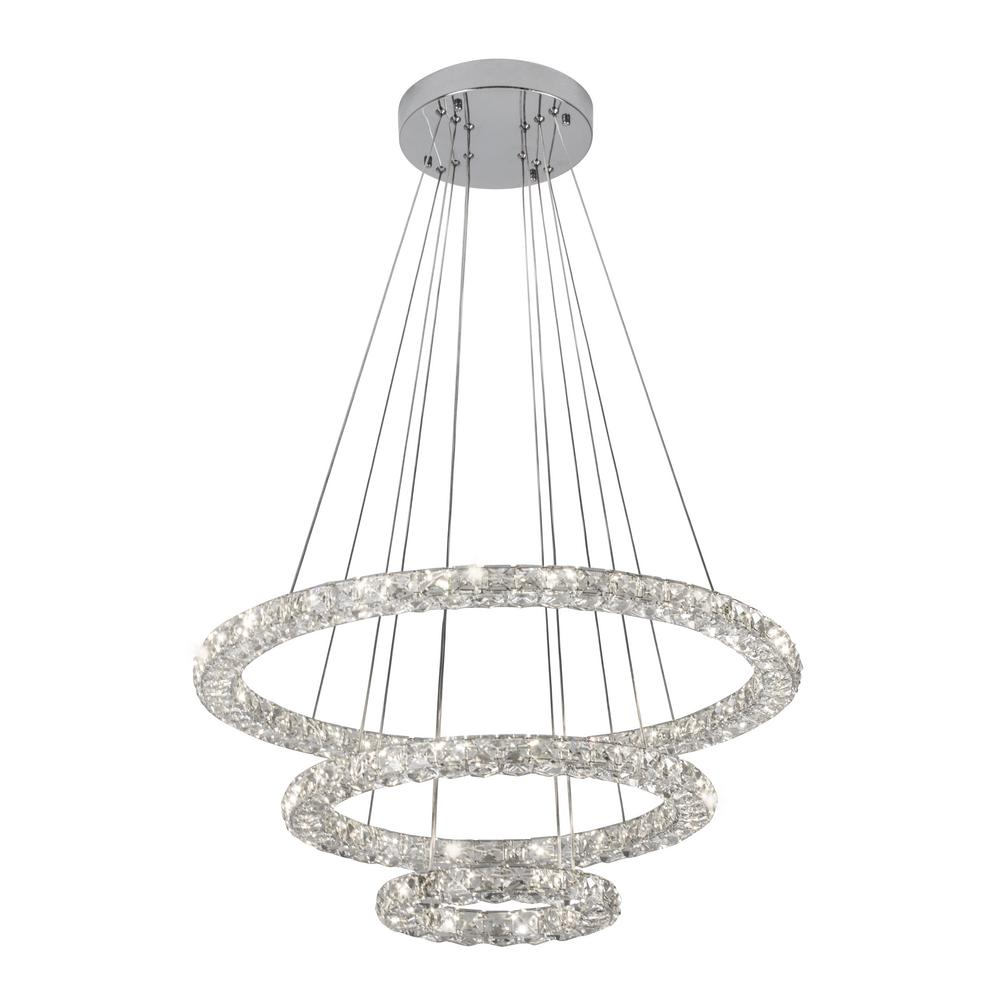 Glam Chrome Crystal Triple Rings LED Pendant  sc 1 st  Home Depot & BAZZ - Crystal - Pendant Lights - Lighting - The Home Depot