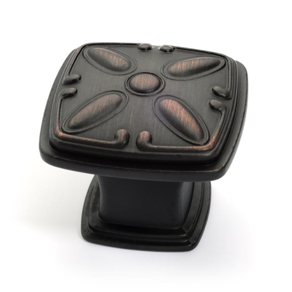 1-1/4 in. Oil Rubbed Bronze Square Design Cabinet Knob (25-Pack)