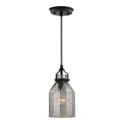 Danica 1-Light Oil Rubbed Bronze and Mercury Glass Pendant