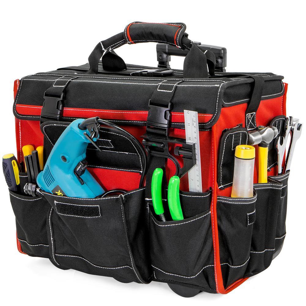 11 in. x 18 in. Jobsite Rolling Tote Tool Bag Storage Organizer Backpack