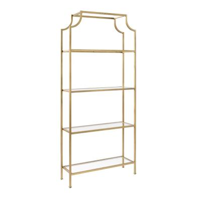 80 in. Gold/Clear Metal 4-shelf Etagere Bookcase with Open Back