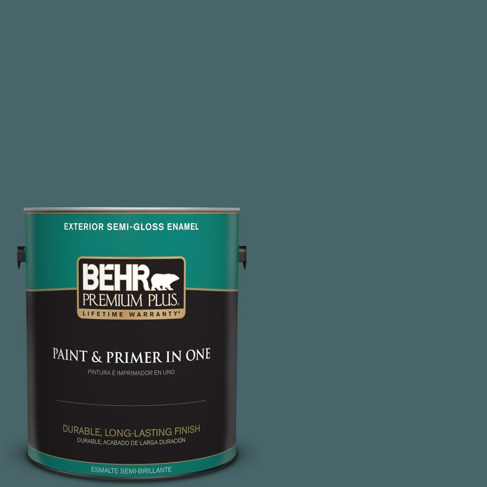 BEHR Premium Plus 1-gal. #500F-7 Mythic Forest Semi-Gloss Enamel Exterior Paint