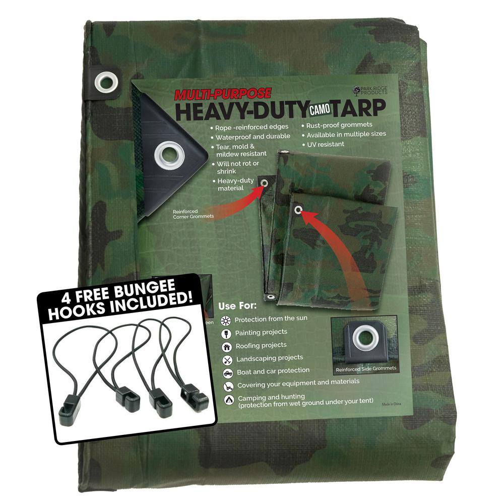 TAFCO PRODUCTS 20 ft. x 30 ft. Heavy-Duty CAMO Reversible Poly 10 mil Tarp Kit Includes 4 Free Bungee Hook Tie Downs