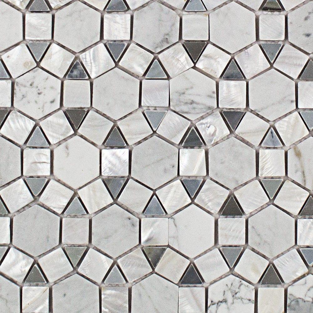Sample Beige Cream Hand Painted Glass Pattern Mosaic Tile: Splashback Tile Noble Hexagon Pearl White Carrera And