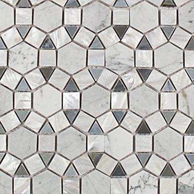 Noble Hexagon Pearl White Carrera and Moonstone Marble Tile - 3 in. x 6 in. Tile Sample