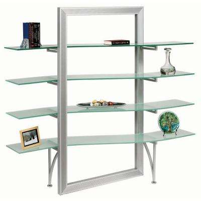 Catherine 4-Shelf Free Standing Bookcase in Silver