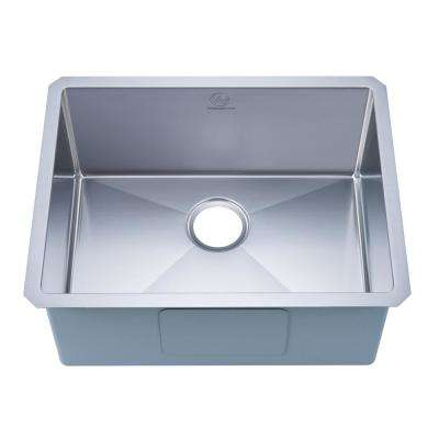 NationalWare Undermount 18-Gauge Stainless Steel 23 in. Single Bowl Kitchen Sink in Stainless Steel with Strainer