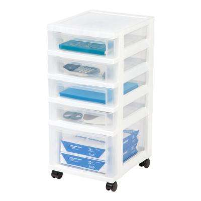 12.05 in. x 26.315 in. White Drawer Storage Cart