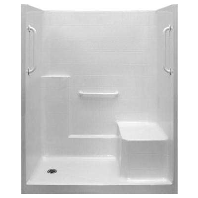 Ultimate-W 33 in. x 60 in. x 77 in. 1-Piece Low Threshold Shower Stall in White, Grab Bars, RHS Molded Seat, Left Drain