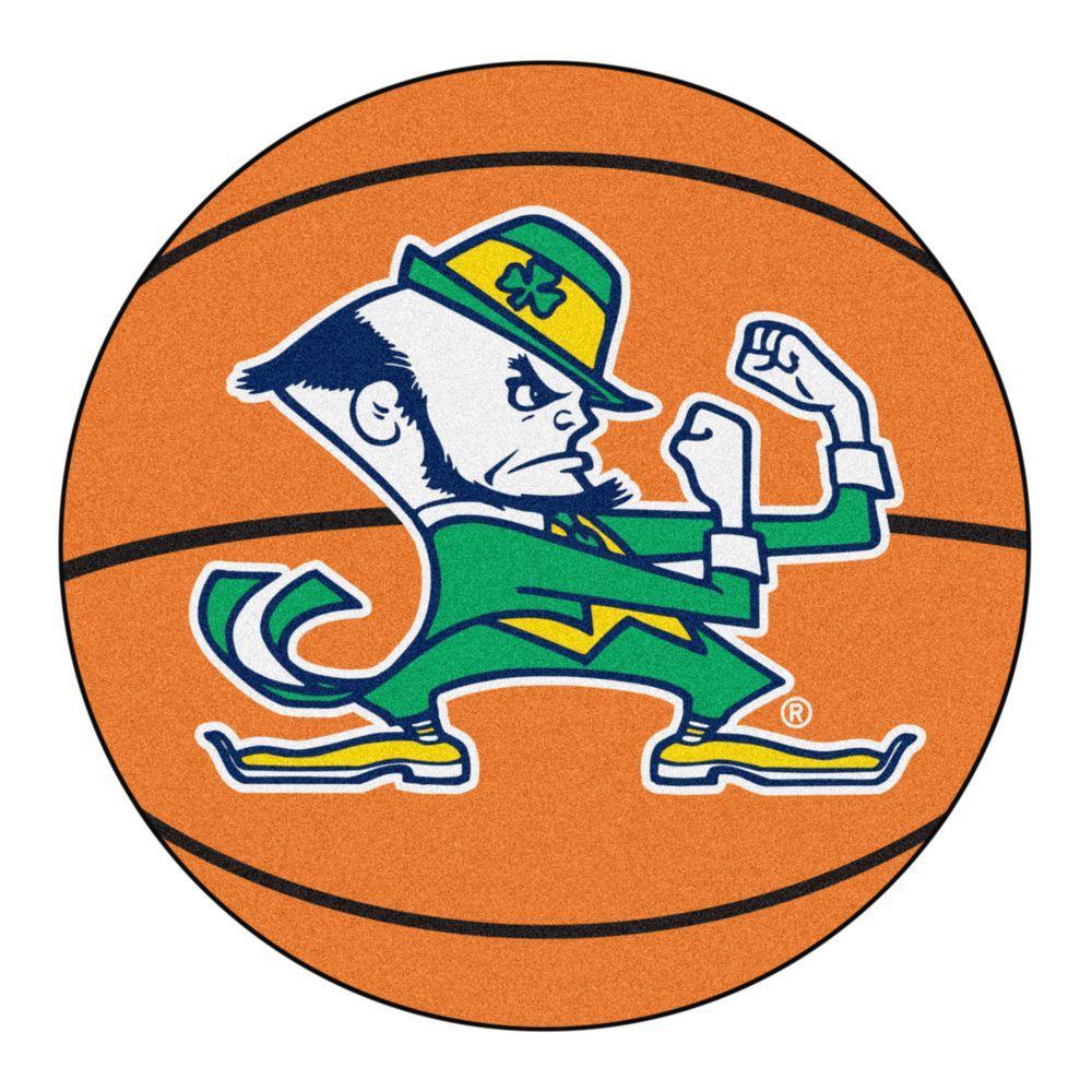 fbdefaf34 NCAA Notre Dame Fighting Irish Logo Orange 2 ft. x 2 ft. Round Area Rug