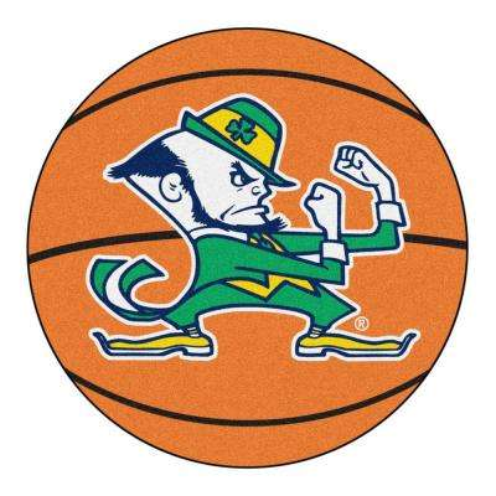 NCAA Notre Dame Fighting Irish Logo Orange 2 ft. x 2 ft. Round Area Rug